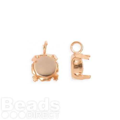 Rose Gold Plated SS39 Chaton Setting Charm with Open Jumpring Pk2