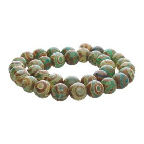 Tibetan agate / round / 10mm / green-brown / 38pcs