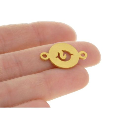 Dolphin / connector / surgical steel / 14x22x1.2 / gold / 1pcs