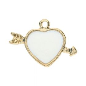 SweetCharm ™ Heart pierced with an arrow / charm pendant / 14x21x2mm / gold plated / white / 2pcs