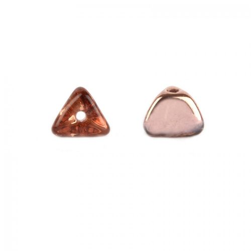 Preciosa Pressed Glass Triangle Beads Clear/Copper 4x7mm Pk20