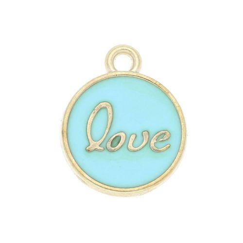 SweetCharm ™ Love  / pendant / 15x13x2.5mm / gold plated / light turquoise / 2pcs