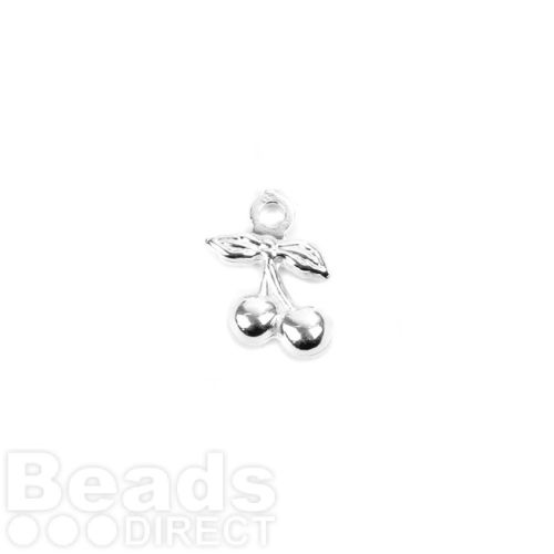 Sterling Silver 925 Small Cherry Charm 6.5x10mm Pk2