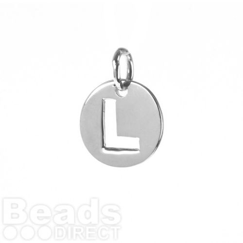 Sterling Silver 925 'L' Letter Cut Out Charm 11mm Pk1