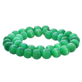 Cat's eye / round / 10mm / green / 40pcs