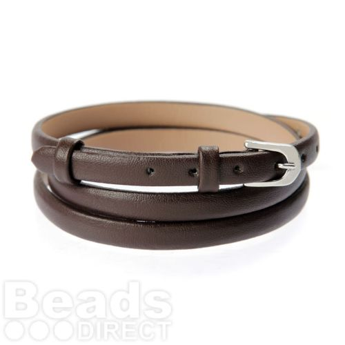 Brown Faux Leather Bracelet Strap with Buckle and Holes 62cm Pk1