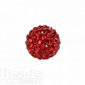 Red Crystal 10mm Premium Shamballa Fashion Round Pk1