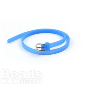 Royal Blue Rubber Bracelet Base With Buckle Latex Free 37cm