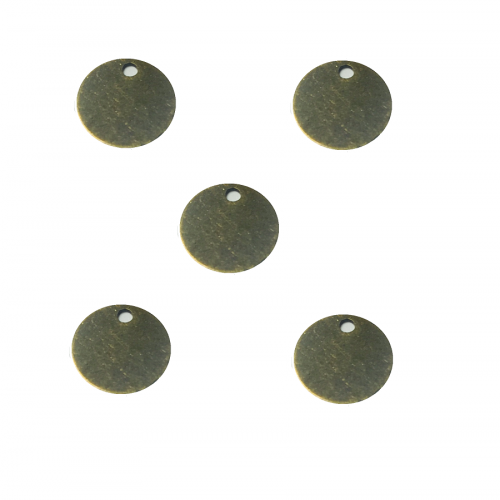 Flat disc / antique bronze / pendant charm / 5mm / 20pcs