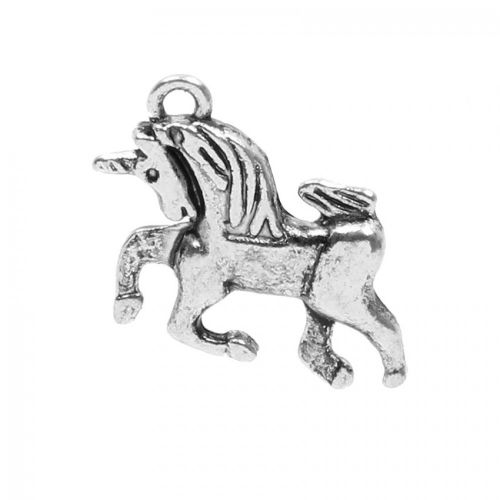 x Antique Silver Galloping Unicorn Charm 16x23mm Pk2