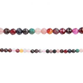 "Mixed Stone Semi Precious Faceted Round Beads 3mm 15"" Strand"