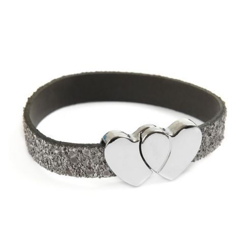 Glitter Ice Grey Heart Bracelet
