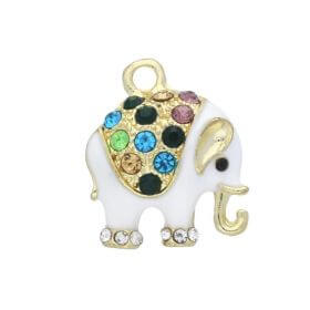 Glamm ™ Elephant / charms pendant / with cubic zirconia / 18x16x5mm / gold plated / white / 1pcs