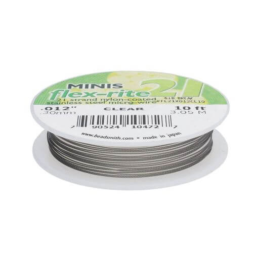 BEADSMITH® / Flex-Rite® 21 wire / surgical steel / .012inch / Crystal / 3m