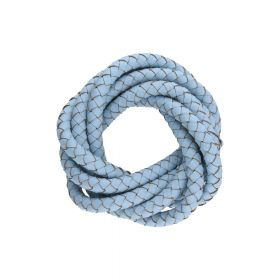 Leather cord / natural / round / braided / 6mm / blue / 1m