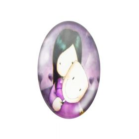 Glass cabochon with graphics oval 13x18mm PT1499 / pink / 2pcs