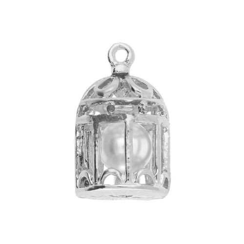 Cage with pearl / charm pendant / 20x12x11mm / silver / 1pcs