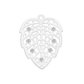 Leaf / filigree pendant / surgical steel / 26x19x0.3mm / silver / 1pcs