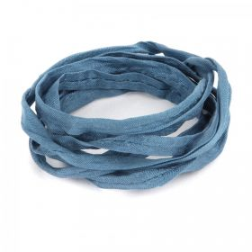 Petrol Blue Natural Silk Ribbon Cord 5mm Pre Cut 1metre