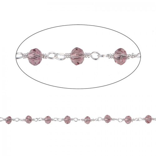 Violet Glass Silver Plated Rosary Bead Chain Pre Cut 1 metre