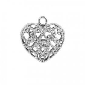 Titanium Plated Filigree 17mm Heart Charm with Loop Pack 1