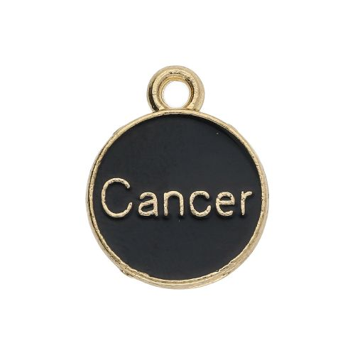 SweetCharm™ Zodiac sign cancer / charm pendant / 15x12x1.5mm / gold-black / 1pcs