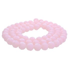CrystaLove™ crystals / glass / faceted round / 6mm / milky pink/ iridescent / 95pcs