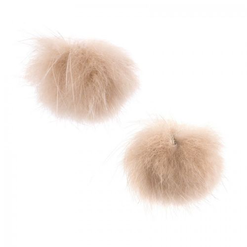 """""""X"""" Beige Faux Fur Ball Charm Charm with Ring 25mm Pk2"""