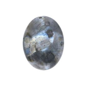Larvikite / flat oval / faceted / 16x12x6mm / 1pcs