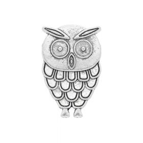 Owl / spacer / 30x20x6mm / silver / hole 10x3mm / 1pcs