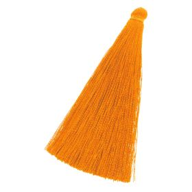 Tassel / viscose thread / 70mm / width 10mm / orange / 1pcs
