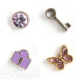 Butterfly, Lock, Key, Purple Crystal Small Floating Locket Charms Pk4