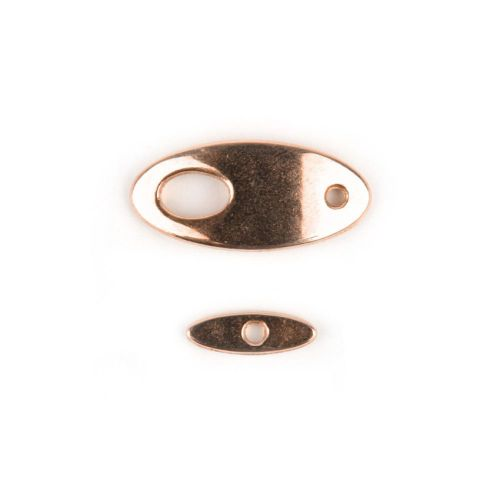 X- Rose Gold Plated Zamak Curved Oval Toggle Clasp 12x26mm Pk1
