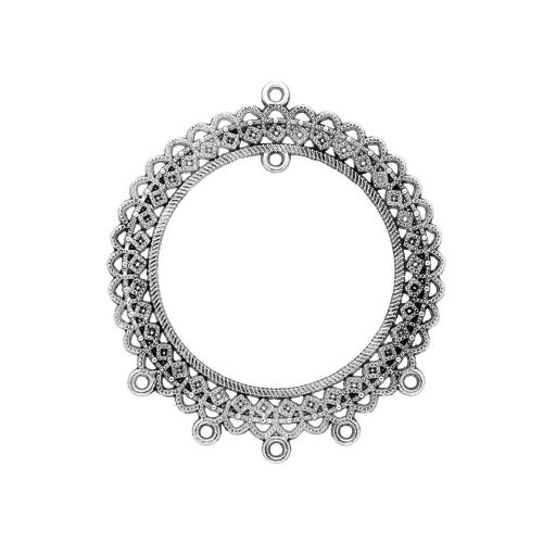 Necklace base / rosette / 69x60x1.5mm / silver / hole 2mm / 1pcs