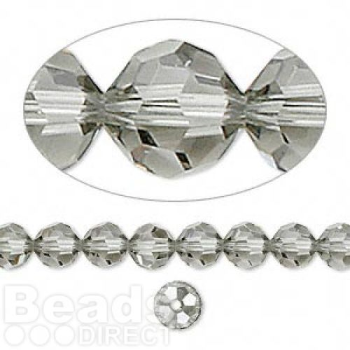 5000 Swarovski Crystal Faceted Rounds 6mm Black Diamond Pk12