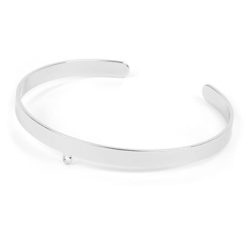 Rhodium Plated Brass Bracelet Base with Loop 5mm/54mm Pk1