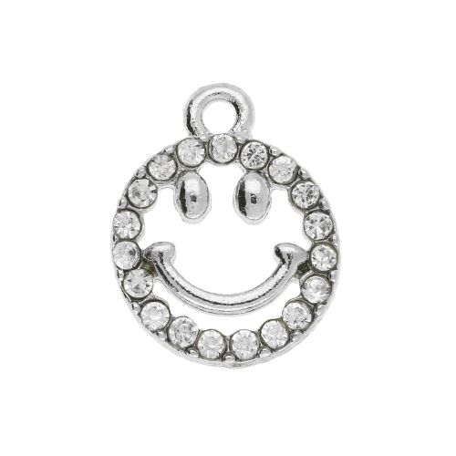 Glamm ™ Smile / charm pendant / with zircons / 15x12x2.5mm / silver plated / 1pcs