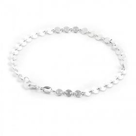"""Sterling Silver 925 Disk Chain 4mm Bracelet with Clasp 7.5"""""""