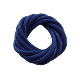 Leather cord / natural / round / 4mm / navy / 2m