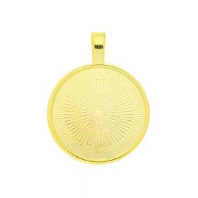 Round pendant / for 25mm cabochon / 36x28x4mm / gold / 3mm hole / 1pcs