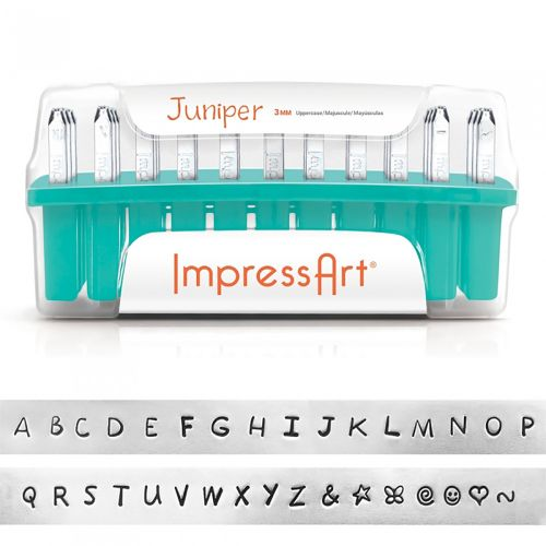 ImpressArt Embossing Stamps 3mm Upper Case Letters Juniper Font 33 Pcs