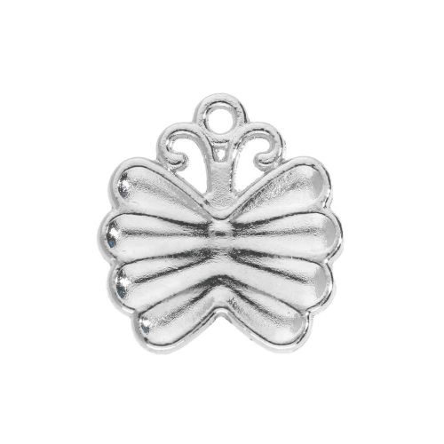 SweetCharm ™ Butterfly / charm pendant / 22x16.5x2.5mm / silver plated / black / 2pcs