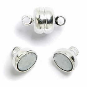 Silver plated magnetic barrel clasp 12mm Pk 10