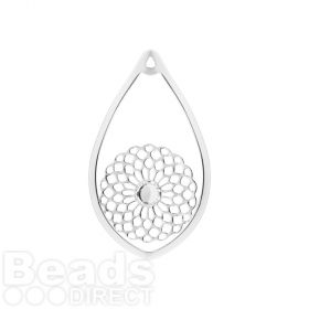 Silver Plated Drop Filigree Pendant Holds SS20 31x53mm Pk1