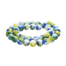 Jade / round / 6mm / blue-yellow / 68pcs