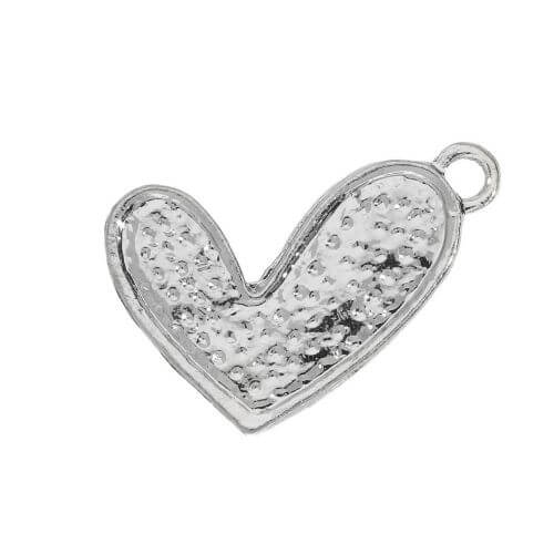 Glamm ™ Heart / charm pendant / with zircons / 21x15mm / silver plated / 1pcs
