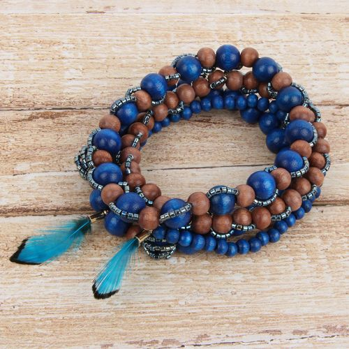 Turquoise Wooden Feather Bracelet Stack TAMB Kit
