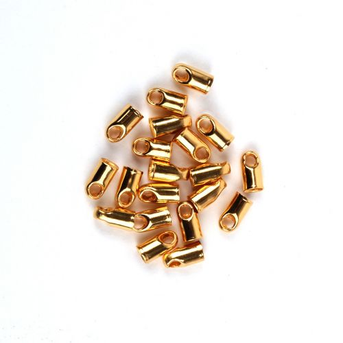Gold Plated Brass Cord Ends 3x6mm (Hole 2.2mm) Pk20