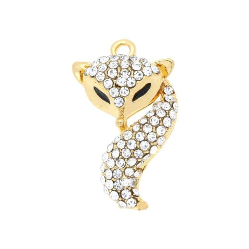 Glamm ™ Fox / charm pendant / with zircons / 25x15x5mm / gold plated / Crystal / 1pcs