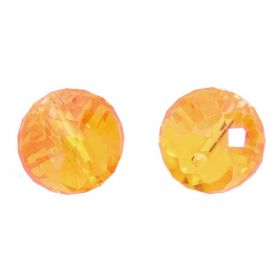 CrystaLove™ crystals / glass / faceted round / 8x10mm / orange / transparent / 6pcs